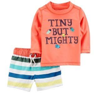 CARTER'S Tiny But Mighty Rashguard & Shorts Set